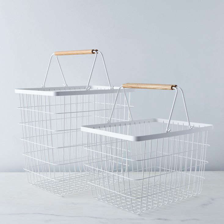 The Steel & Wood Laundry Baskets could also be used to corral shoes or toys; $45 to $50 at Food52.
