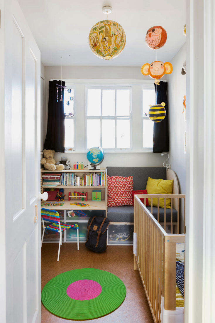 Kids colorful room with built in furniture in remodeled London apartment