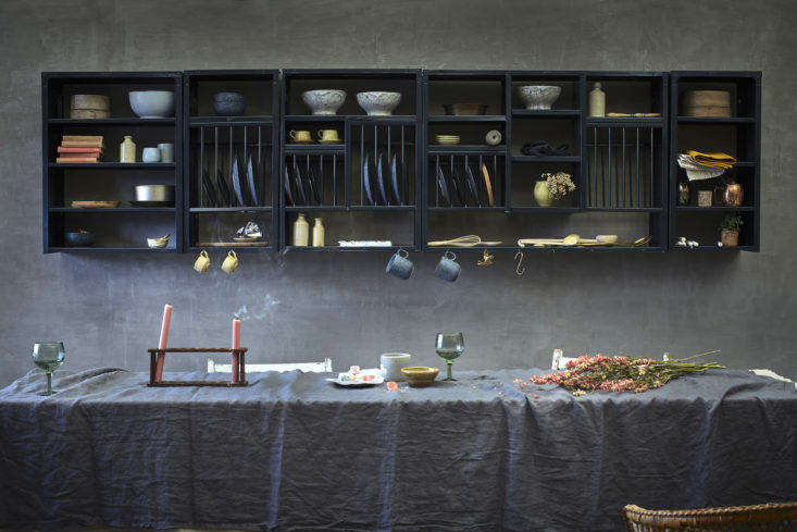 Stovold and Pogue Indian stainless steel kitchen rack and shelf grouping in anthracite.