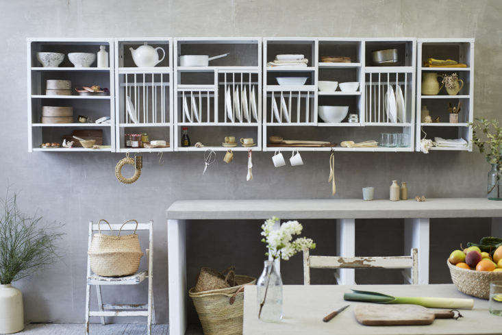 Stovold & Pogue Indian stainless steel kitchen rack and shelf grouping in white.