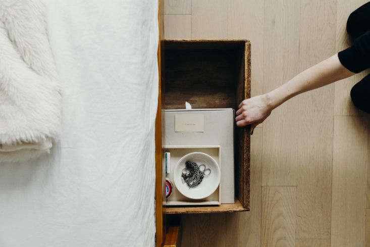 Annie Quigley's Vintage Wooden Underbed Storage Boxes, Photo by Mel Walbridge