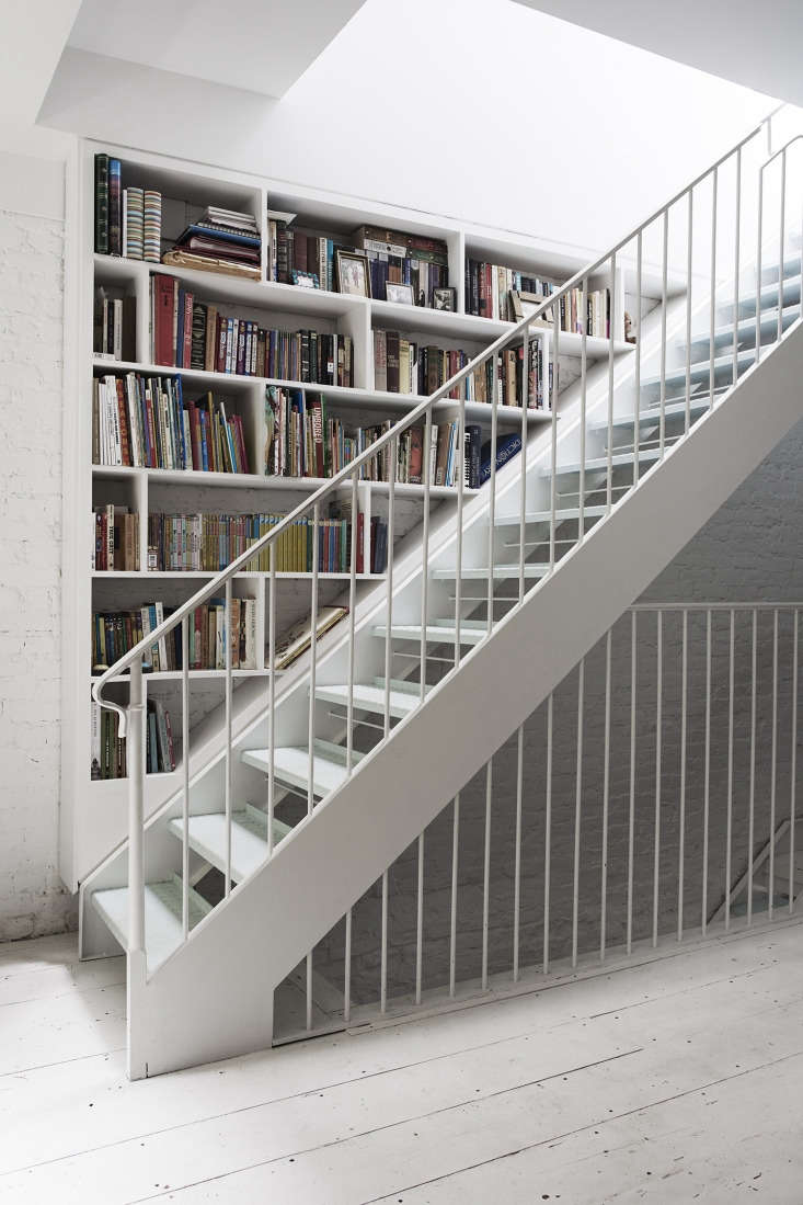 Brooklyn townhouse white metal stair designed by Bangia Agostinho Architecture. Pia Ulin photo.
