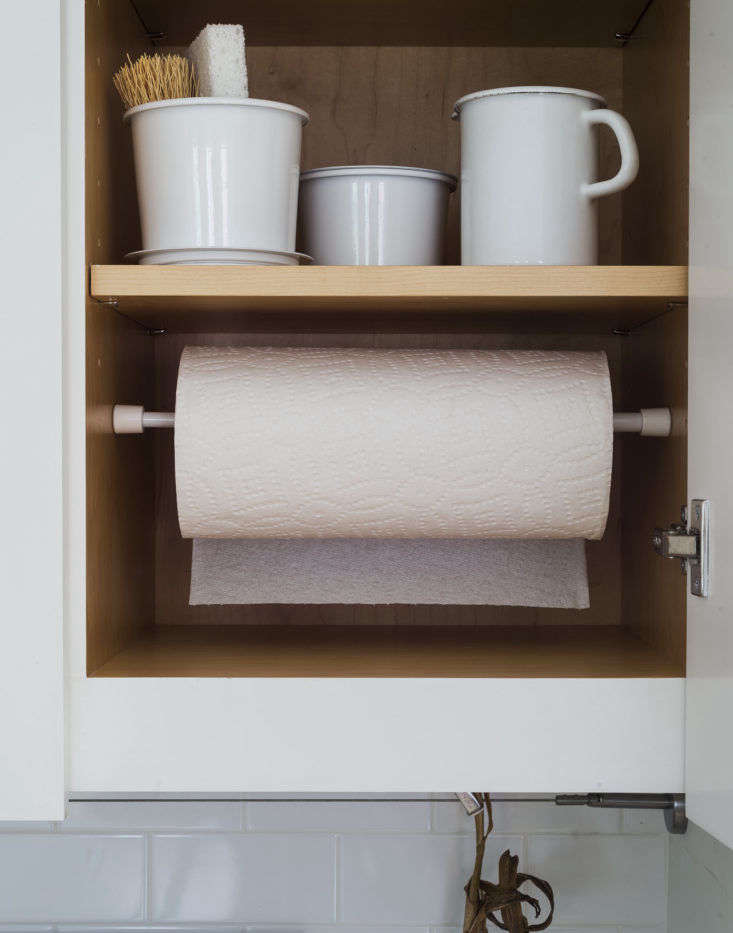 Tension Rod Paper Towel Holder in Cabinet 2 by Matthew Williams