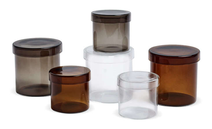 Hay glass-covered containers.
