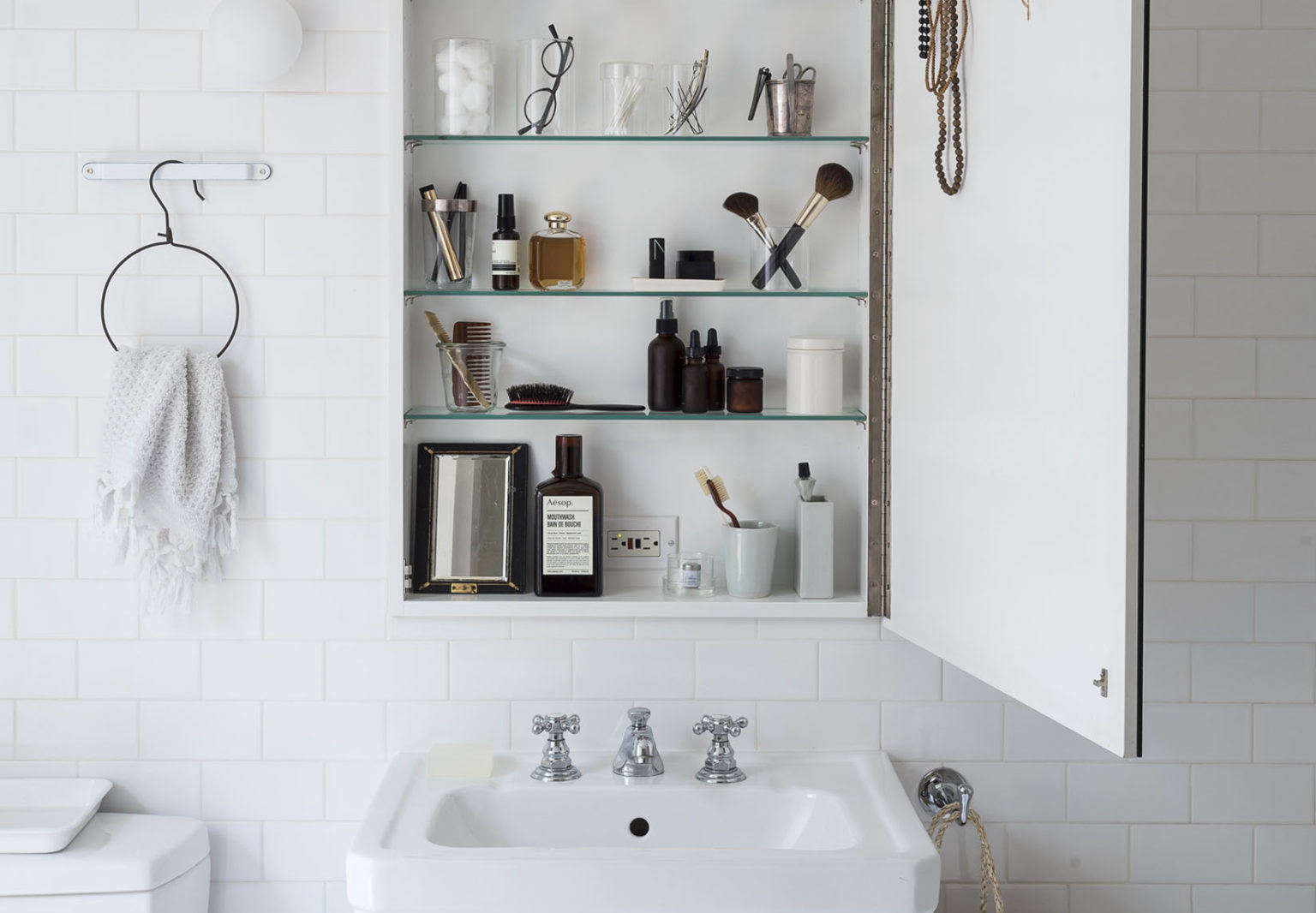 Medicine cabinet as vanity from Remodelista The Organized Home. Matthew Williams photo.