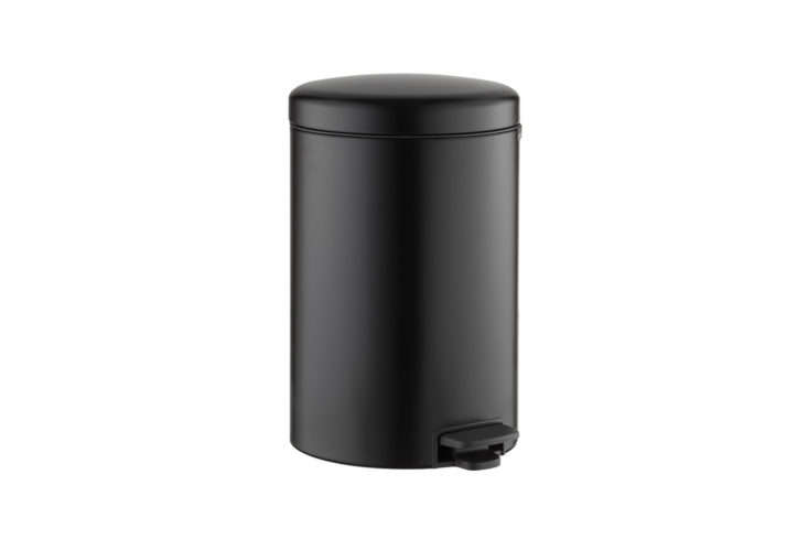 Brabantia Matte Black Round Step Trash Can from Container Store