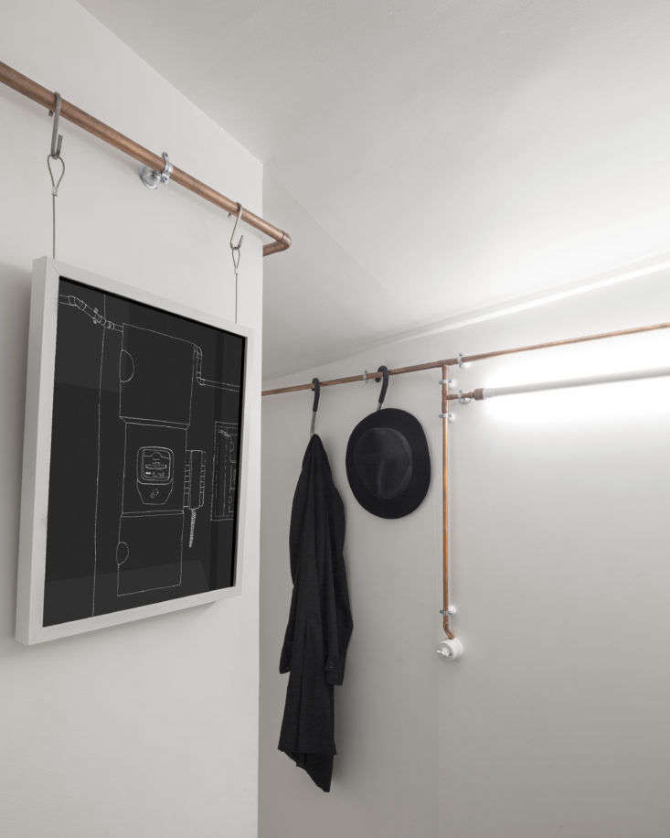 Copper Pipes in Shaker Studio Airbnb in Paris by Ariel Claudet, Photo by Cyrille Lallement