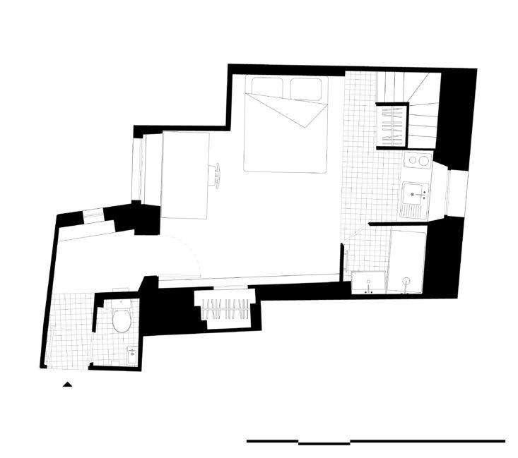 Plan of Shaker Studio Airbnb in Paris by Ariel Claudet