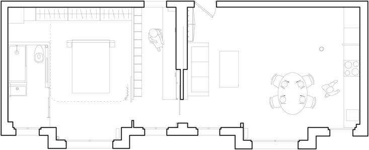 The layout of the 645-square-foot apartment.