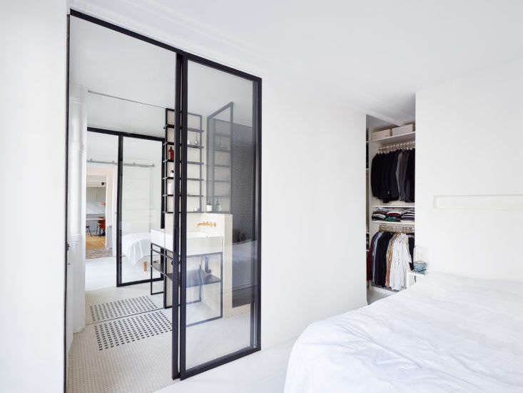 At right, the closet actually extends into available space behind the bathroom.