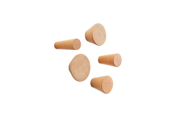 Three by Three Natural Hob Knob Wood Wall Pegs from Container Store
