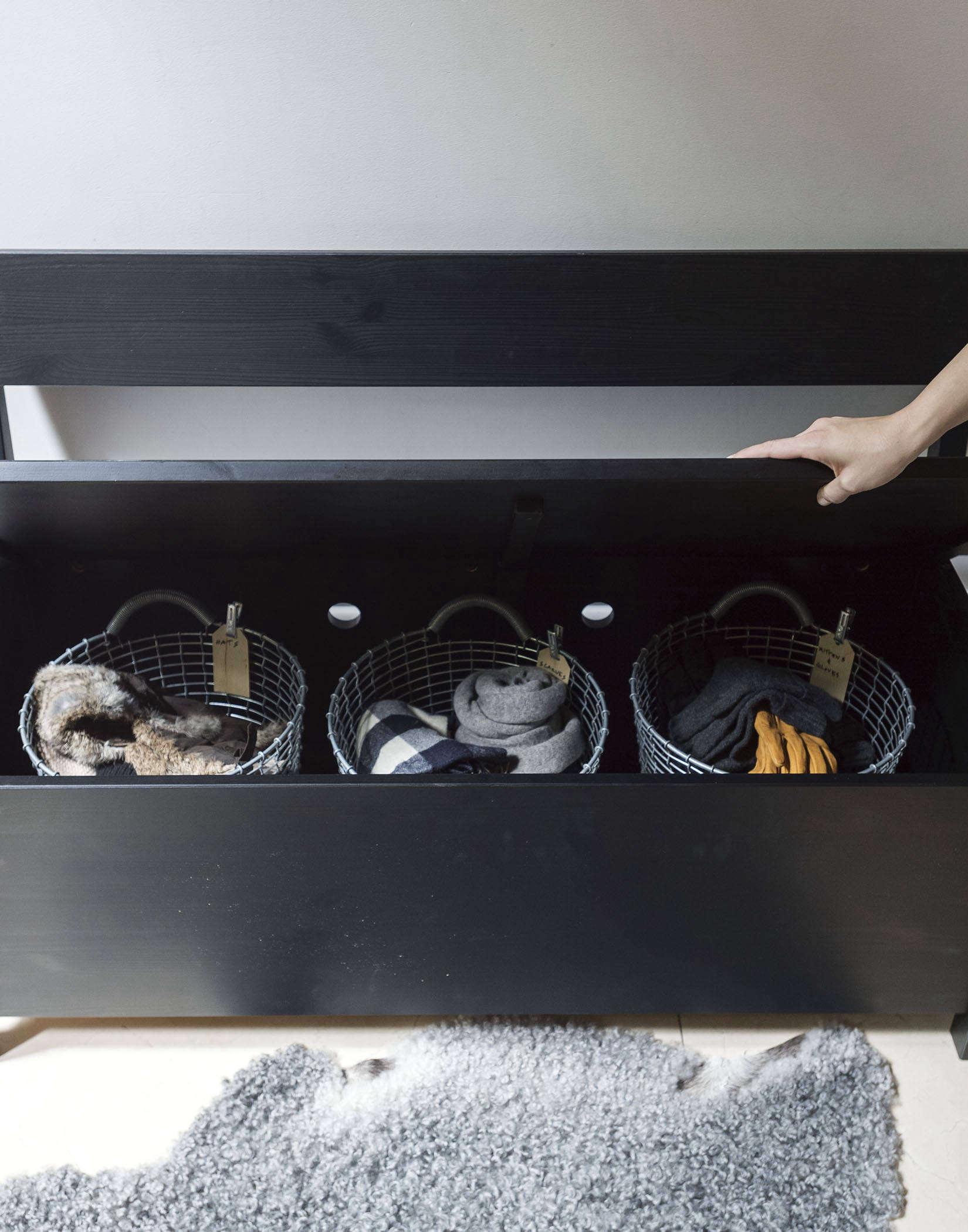 Organized Home Storage Bench Photo by Matthew Williams Styling Alexa Hotz