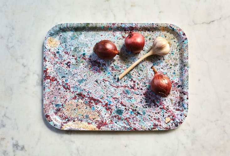 Julie discovered jewel-toned marbelized trays from Sweden's Studio Formata that would be perfect for organizing small things in the kitchen, entry, bedroom, any room, actually. See:Object of Desire: Studio Formata Marbleized Trays.