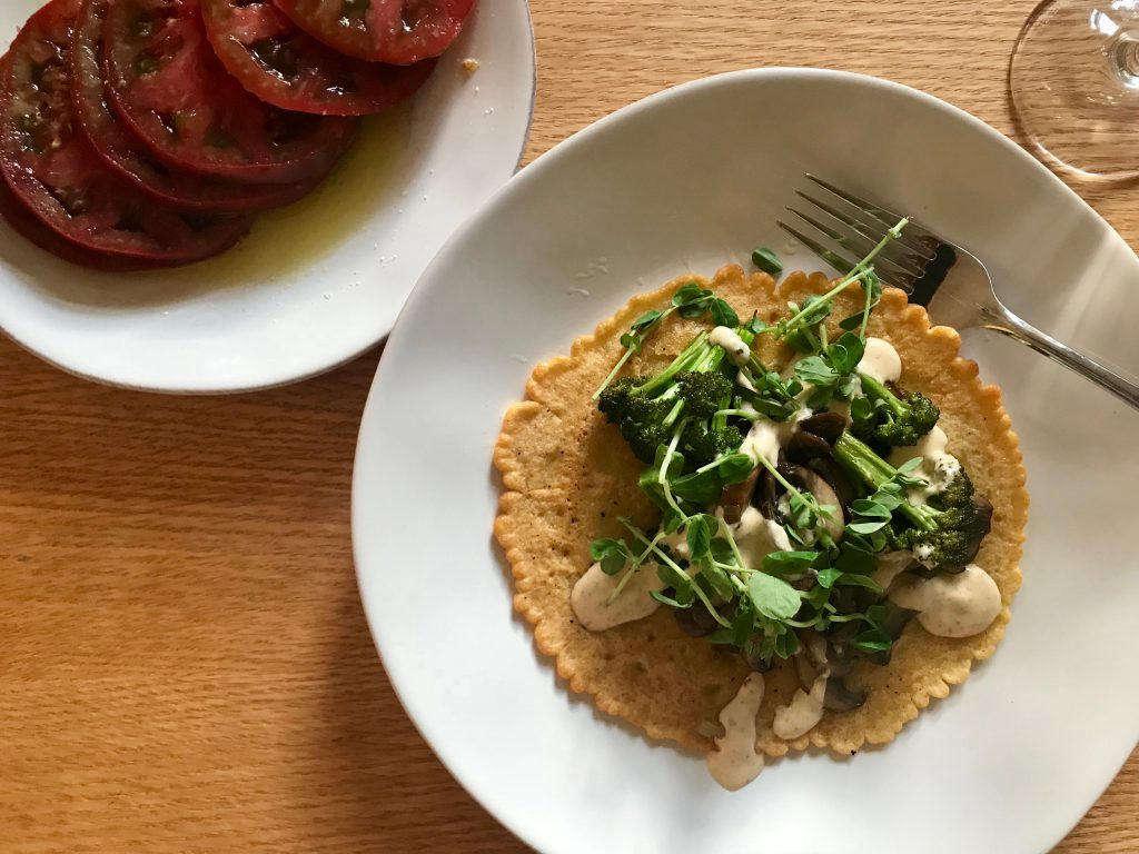 Dinner a Love Story Socca Broccoli Mushroom