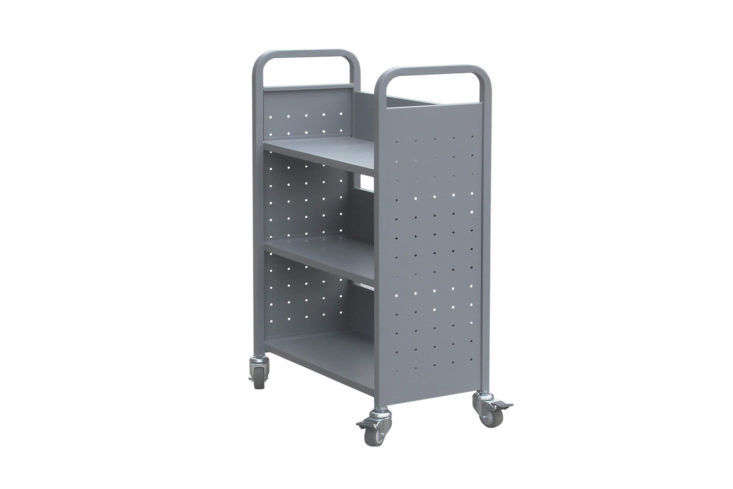 H&A Rolling Book Cart Library Cart Gray