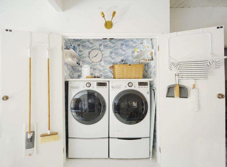Emily Henderson Laundry Closet Doors Open
