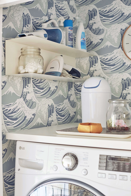 Emily Henderson Laundry Closet Trash Can Detail