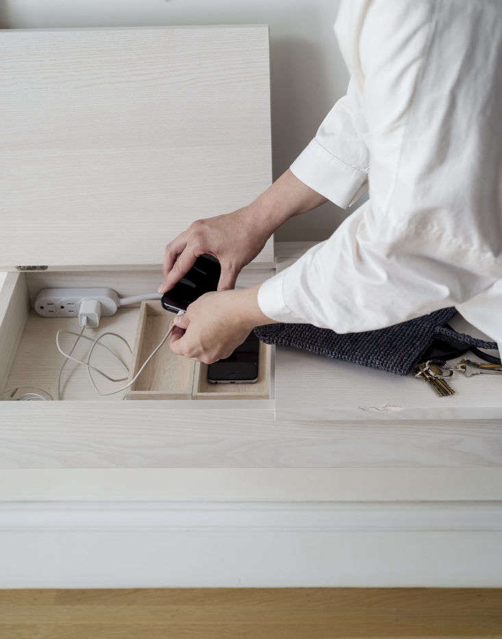 Charging Station in Entryway by Matthew Williams for The Organized Home Book