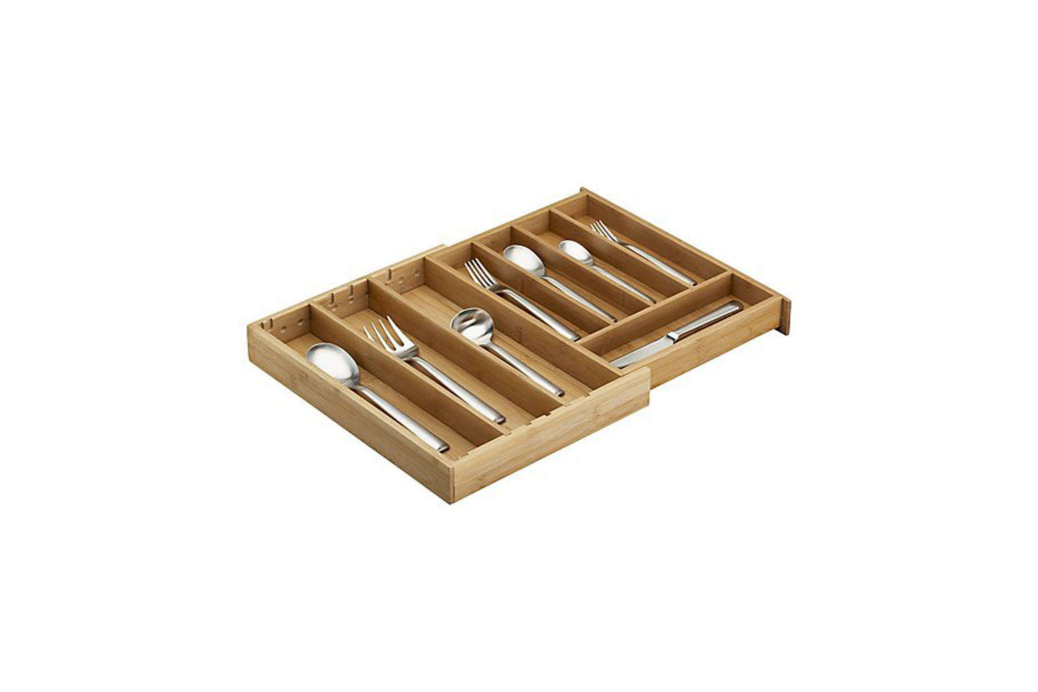 Crate & Barrel Expandable Bamboo Flatware Tray