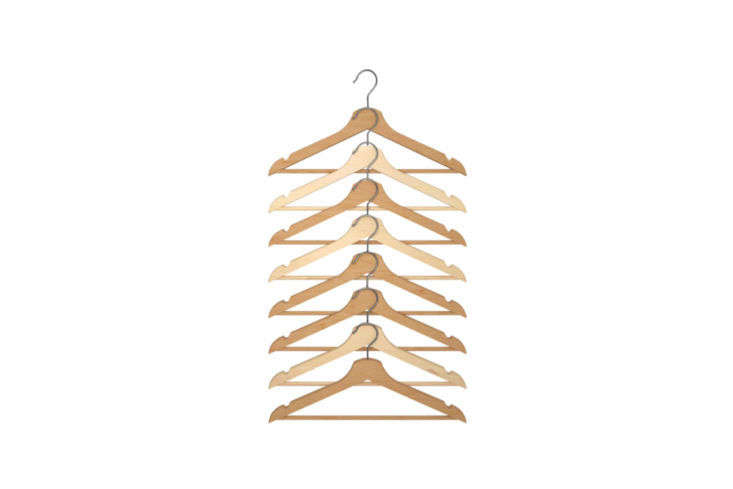 A pack of eight Bumerang Hangers in natural is $4.99 at Ikea.