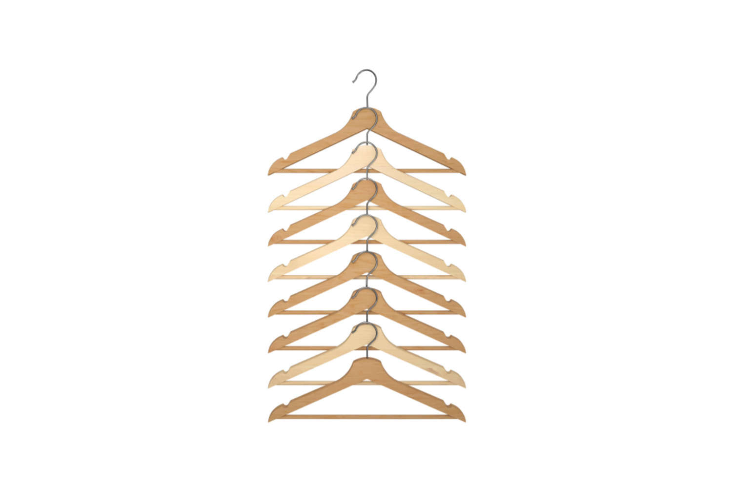 A pack of eight Bumerang Hangers in natural is $4.49 at Ikea.