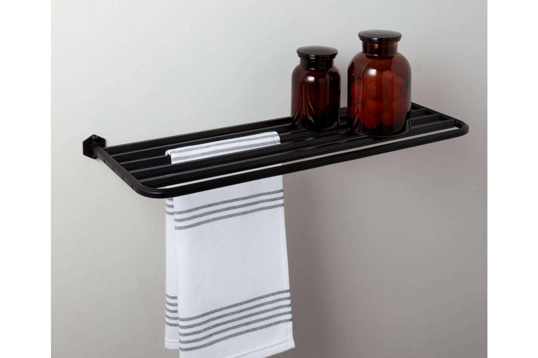 CB2 Hex Matte Black Train Towel Rack