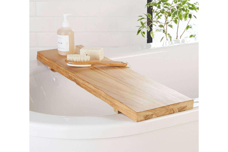 CB2 Live Edge Wood Bath Caddy