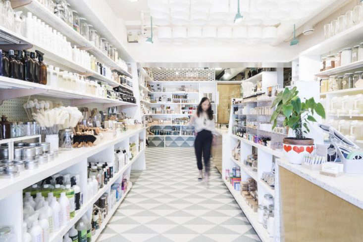 The interior of The Soap Dispensary, which stocks only natural beauty products. In addition,50 percent of their suppliers are locally owned and 75% of their soaps are locally made.