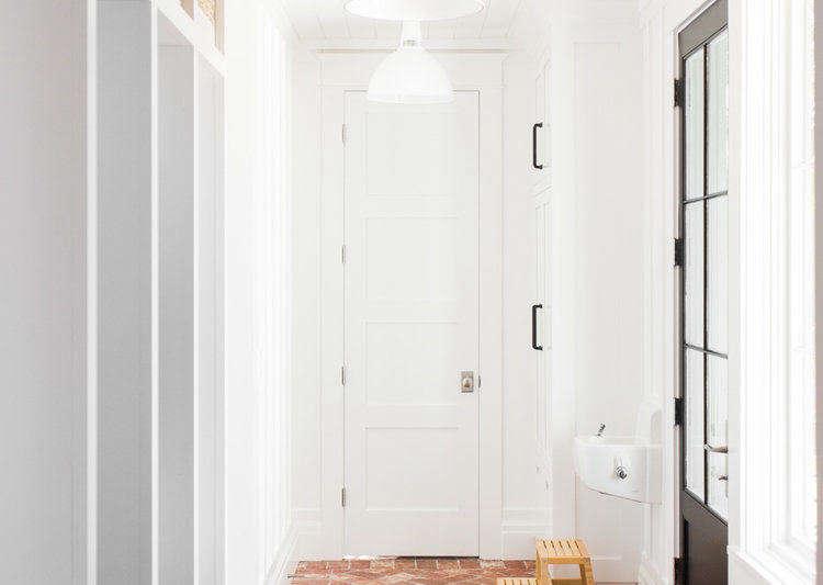 Studio McGee Mudroom Herringbone Brick Floor