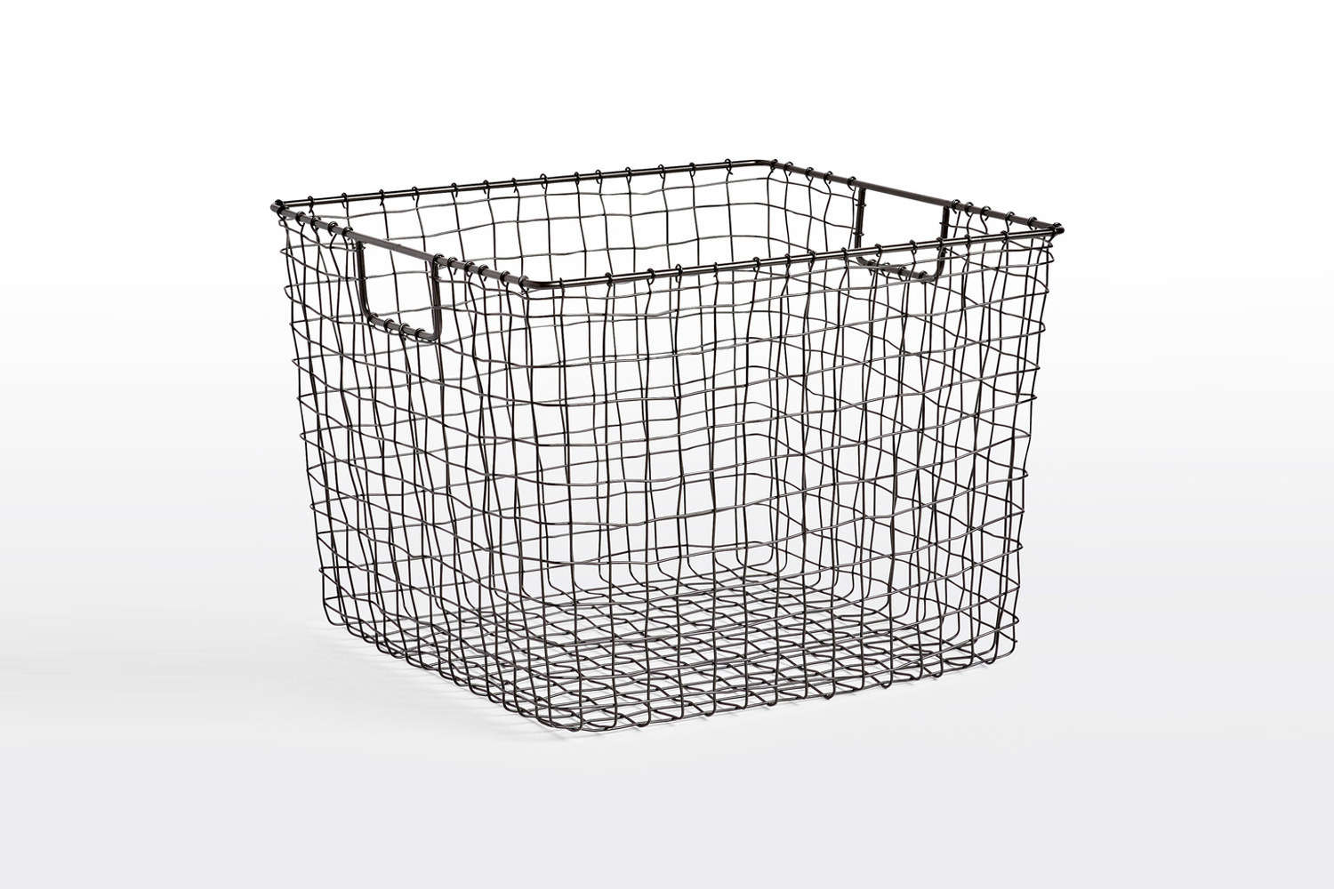 Square Oil-Rubbed Bronze Wire Basket at Rejuvenation