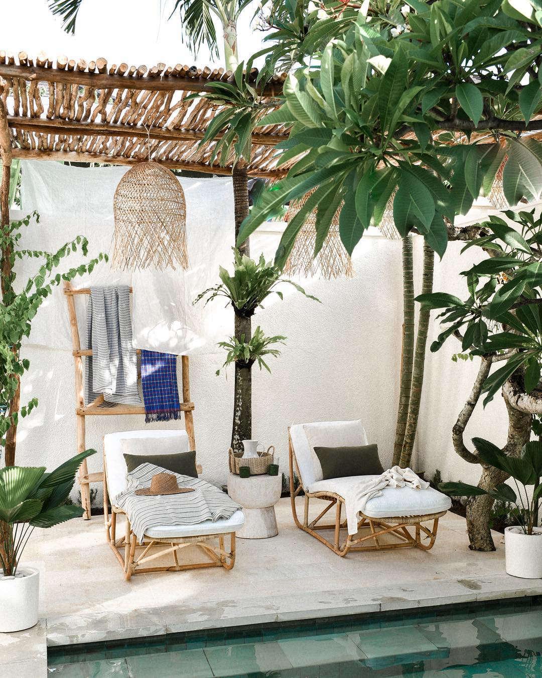 Pool and Lounge Chairs at Villa Arunja Airbnb in Canggu Bali