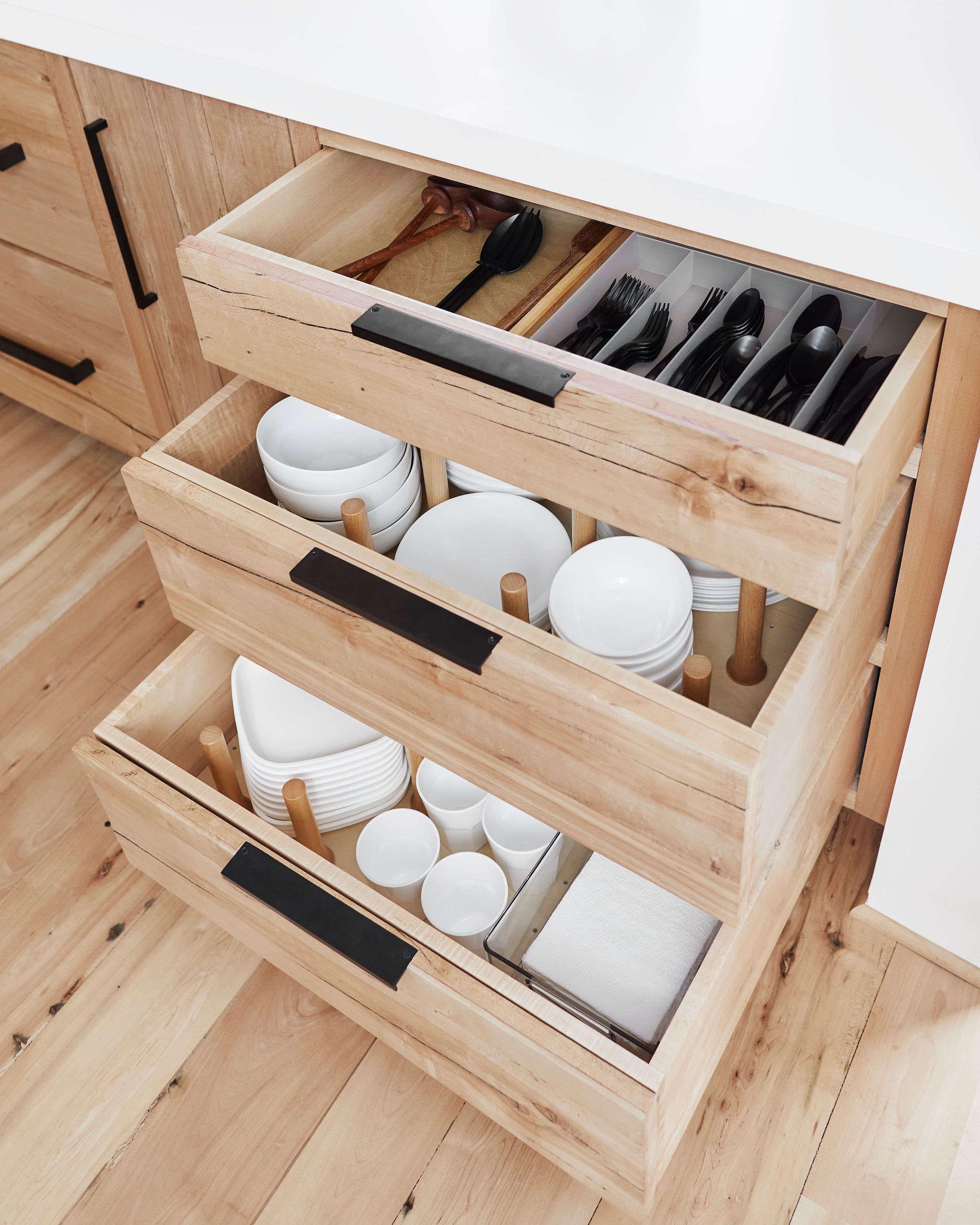 Emily Henderson Mountain House Kitchen Dinnerware Drawers
