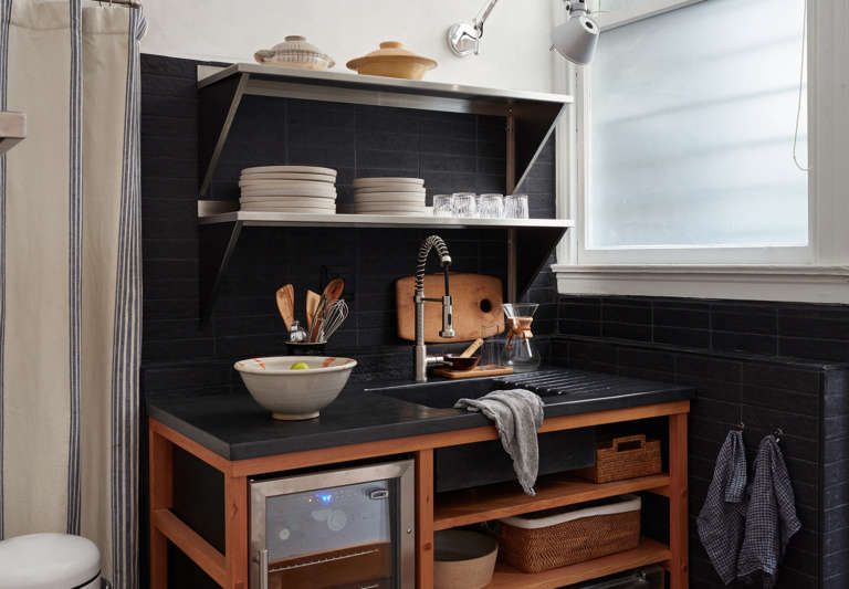 Lyon Office Kitchen by Lyn Leonidas of Landed Interiors, Photo by Mariko Reed