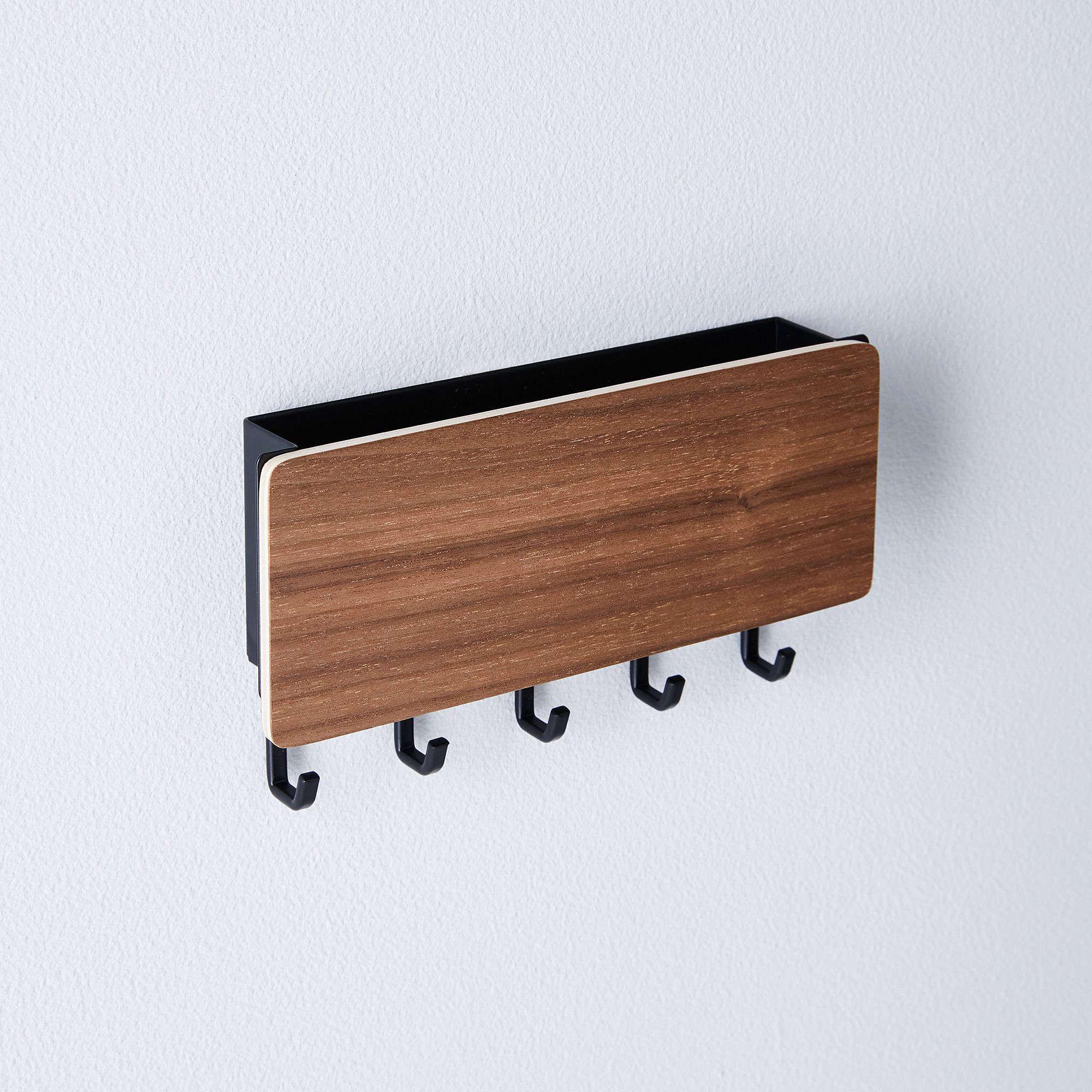 puseky U Shape Key Holder Rack Letter Post Organizer Wall Mount Hanger Shelf w// 4 Hooks for Home
