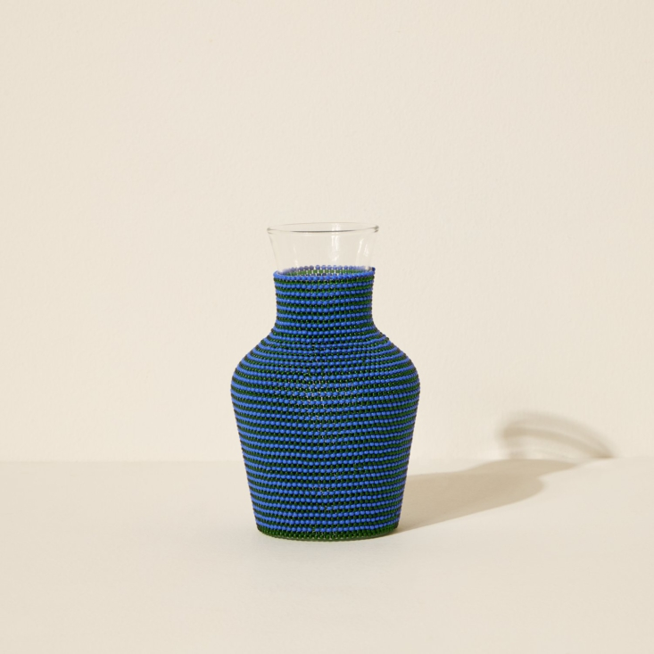 Beaded Water Carafe in Blue by Siafu Home from Goodee