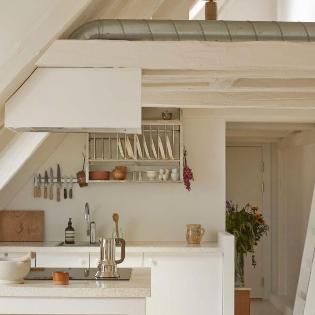 Even in a good-sized kitchen, it can be hard to find a place for everything. In a small kitchen, it can feel downright impossible. Click the link in our bio for storage and organization ideas, culled from our archive of tiny kitchens we love, that will make you realize your small-space storage issues aren't really so big after all. Photograph courtesy of Katrine Rohrberg.